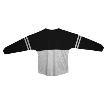 Black and Oxford Pom Pom Jersey