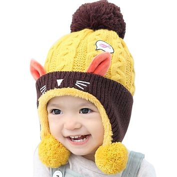 Cute Baby Winter Hat Warm Beanie Cap For Children Boys Girls Animal Cat Ear Kids Crochet Knitted Hat