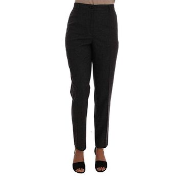 Gray Viscose Wool Woven Pants