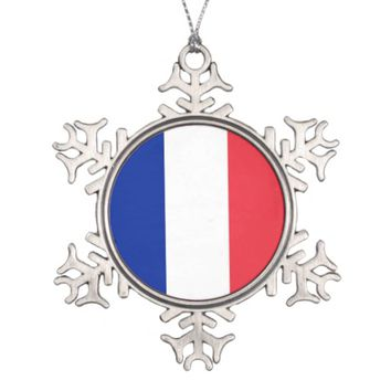 Snowflake Ornament with France Flag