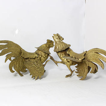 Vintage Brass Fighting  Gamecocks Roosters Decorative Figurines Pair