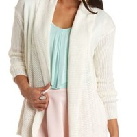 Mixed Knit Open Cardigan Sweater by Charlotte Russe