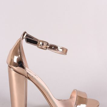 Qupid Metallic Patent Ankle Strap Chunky Heel