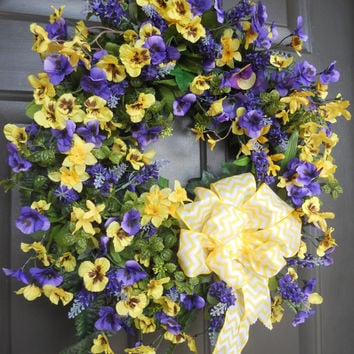Summer Wreath, Lavender Wreath, Pansies, Daffodils, Floral Wreath, Chevron Ribbon , by Pebble Creek Designs