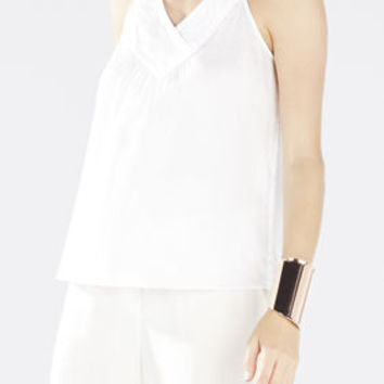 White BCBG Women's Jovana Crossover Yoke Top