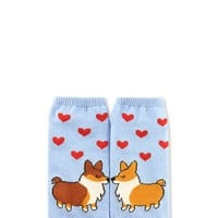 Corgi Hearts Graphic Ankle Socks