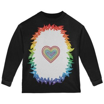 DCCKJY1 Halloween Rainbow Heart Unicorn Costume Pony Toddler Long Sleeve T Shirt