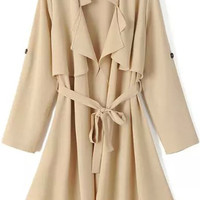 Khaki Long Sleeve Tie-waist Trench Coat