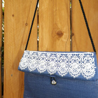 Metallic Blue and Ivory Lace Evening Bag with Black Satin Cord Strap