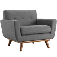 Engage Armchair Fabric Rubber Wood Legs Accent Chair in Gray