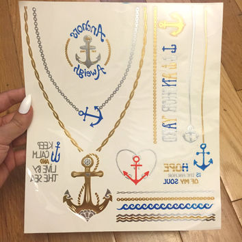 Anchor Metallic Tattoo, Metallic Tattoo Sheet, Temporary Metallic Tattoo, Temporary Tattoo, Boho Accessories, Anchor Tattoo, Beach Tattoo
