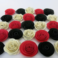 "Red, Black and Sheet Music paper roses, 25 pieces, 1.5"" flowers Wedding Table topper decorations, bridal shower decor, birthday party supply"