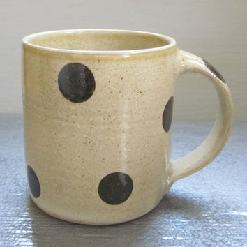large polka dotted coffee mug - 24 oz