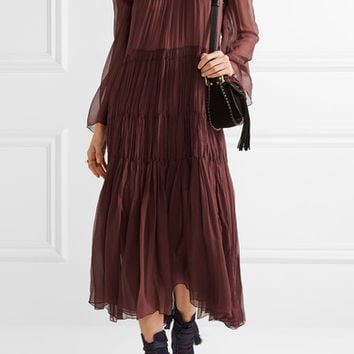Chloé - Ruffled smocked silk-georgette dress