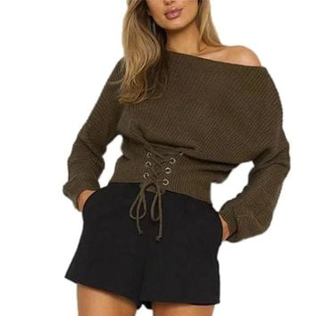Women Sweater Knit Bandage  Loose Elastic Pullover Warm Tight