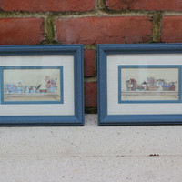 Blue framed kitchen art - Kitchen decor, wall hangings, painted frames