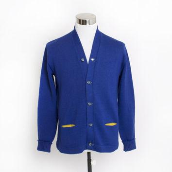 Vintage 50s Varsity Sweater - Royal Blue Wool Knit Letterman Cardigan 1940s - Medium