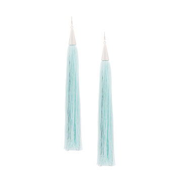 Eddie Borgo Long Silk Tassel Earrings - Blue Gold Plated Metal Earrings