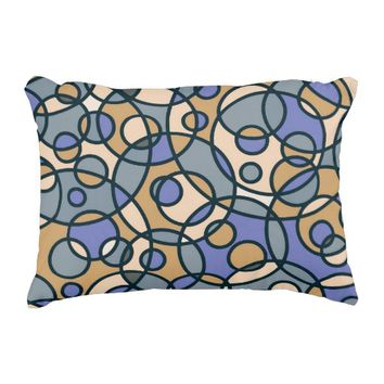 Circles Pattern Abstract Blue/Tan Accent Pillow