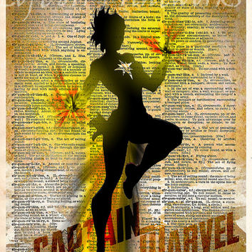 Carol Danvers - Super Hero pop art - Dictionary print art