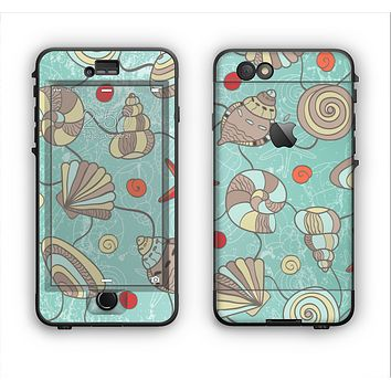 The Teal Vintage Seashell Pattern Apple iPhone 6 Plus LifeProof Nuud Case Skin Set