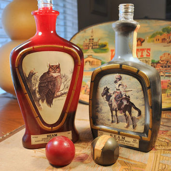 Two Vintage Jim Beam Choice Whiskey J. Lockhart and Frederic Remington Collectible Decanters