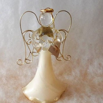 Vintage 1980s Blown Glass Gold Trimmed Angel Ornament/Carlton Cards Canada/Beautiful Glass Blown Ruffled Skirted Glass Angel Tree Ornament