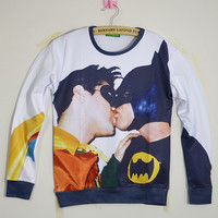 Free Shipping 3D Batman and Robin Kissing HOODIE Sweatshirts Long Sleeve New Fashion Womens Mens Crewnecks Sweats Hoodies