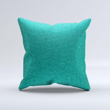 Teal Stamped Texture  Ink-Fuzed Decorative Throw Pillow