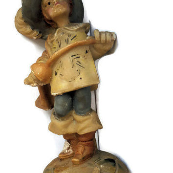 Vintage Carved Alabaster Figurine Painted Musketeer from 1970