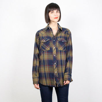 Vintage Plaid Flannel Shirt Mustard Tan Navy Blue Wrangler Western Shirt Pearl Snap Buttons Rockabilly Shirt Cowboy Shirt M Medium L Large