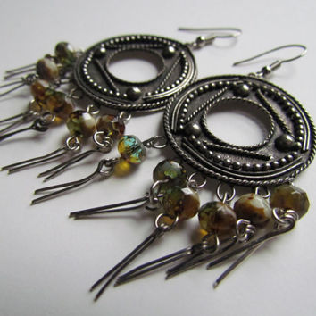 RIVER WILD~ Dangle Earrings~Beautiful Bohemian Women's Earrings~Picasso Beads~Ornate Circular Silver Disks~