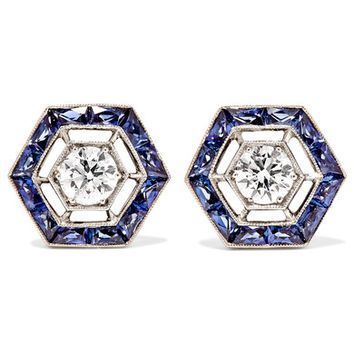 Fred Leighton - Collection 18-karat white gold, sapphire and diamond earrings