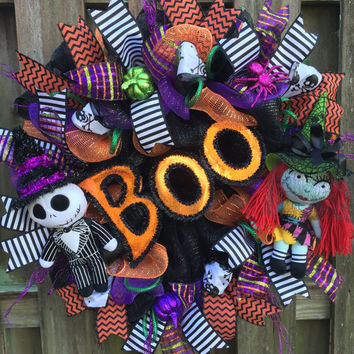 Nightmare Before Christmas Wreath,NBC, Halloween Wreath, Jack Skellington Wreath, Disney Halloween,Halloween Mesh Wreath,Witch Wreath,Skull