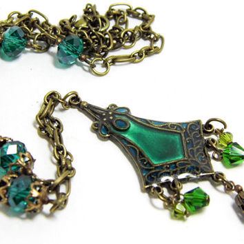 Art Deco emerald green necklace, gold filigree, Edwardian jewellery, plique a jour, green crystal pendant