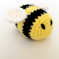 Handmade Crochet Organic Catnip Bumblebee Cat Toy, Non-Toxic Eco-Friendly Stuffing, Choose  Rattle Bell or Crinkle, Made in USA