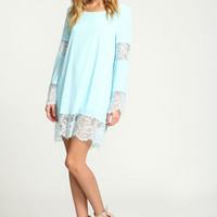 BLUE LACE BELL CREPE DRESS