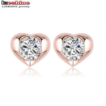 LZESHINE Forever Love Heart Earrings Rose Gold Plate AAA Zircon Women Earring Stud ER0217-A
