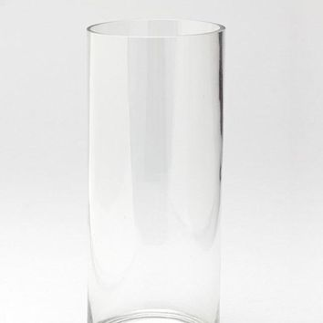 "Clear Glass Cylinder Vase - 12"" Tall x 5"" Wide"