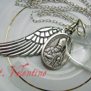 Sterling Silver Heart Medallion Wing Necklace, Vintage Inspired Romantic Estate Style - Valentines Jewelry - Patron Saint Valentine