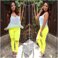 High Waisted Neon Distressed Skinny Jeans - Neon Yellow