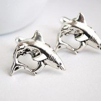 Shark Cuff Links. Great White Shark Cufflinks