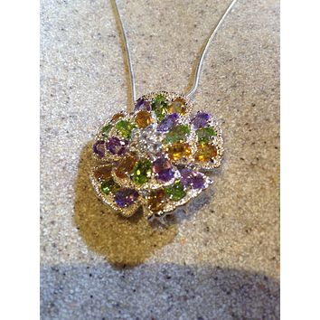 Vintage Real Amethyst, Peridot Blue Topaz 925 Sterling Silver Flower Necklace