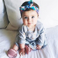 Headwraps Top Knot Printed Headband Children Infants Ears Bow Hairband Turban Baby Hair Accessories