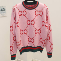 GUCCI 2018 new spring and autumn wild double g letter knit round neck sweater Pink
