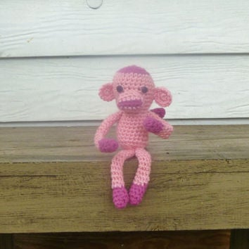 Crochet Amigurumi Pink Monkey Stuffed Animal/Doll