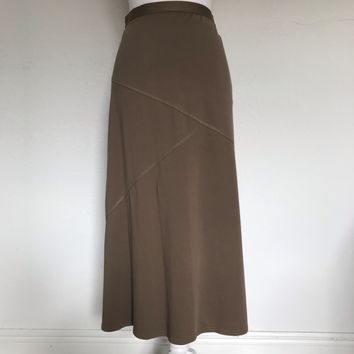 J JILL Women's PLUS SIZE XL Brown 100% Pima Cotton Midi Skirt