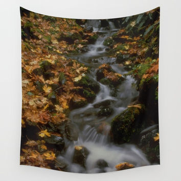 Forest Creek Amongst The Leaves Wall Tapestry by BravuraMedia