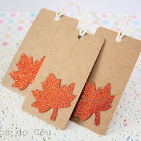 Set of 6 Fall Kraft Tags - Gift Wrapping Supplies - Gift Tag - 4 x 8 cms - Ready to Ship.