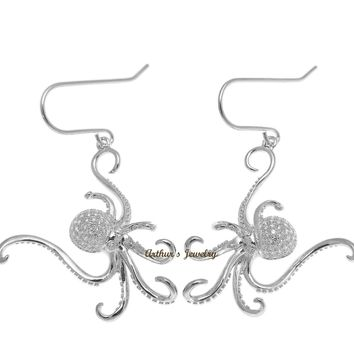 RHODIUM PLATED 925 STERLING SILVER HAWAIIAN OCTOPUS HOOK EARRINGS BLING CZ
